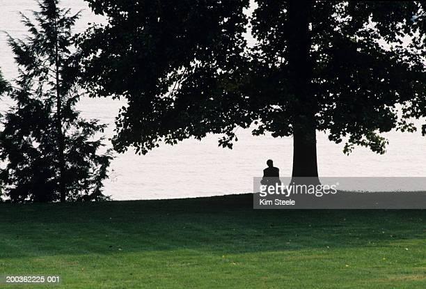 Man thinking beside Delaware River, silhouette