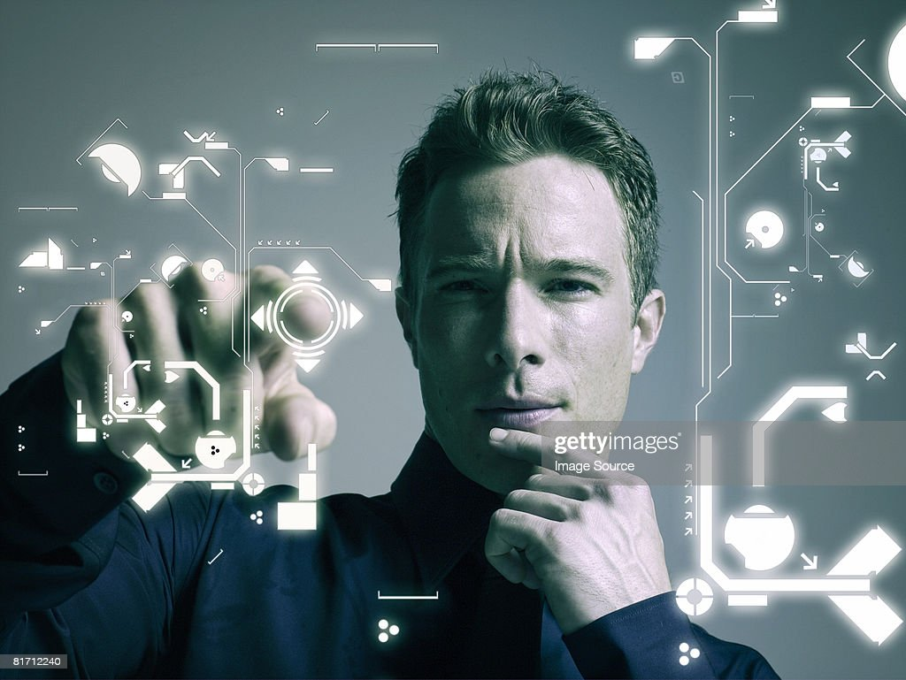 Man touching shape : Stock Photo