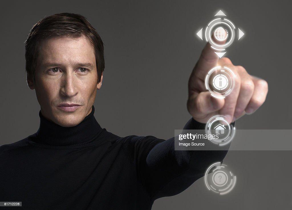 Man touching symbol