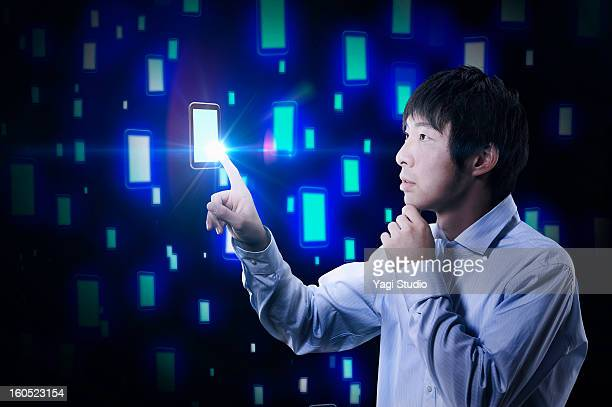 Man touching the smartphone