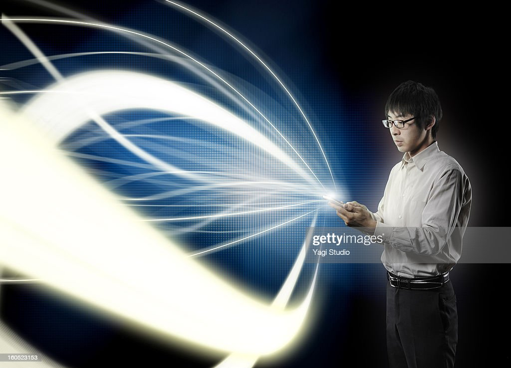 Man touching the smartphone witch is collecting li : Stock Photo
