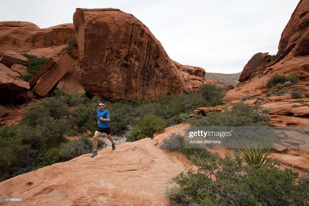 Man trail running.