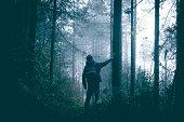 Man travel alone on foggy forest