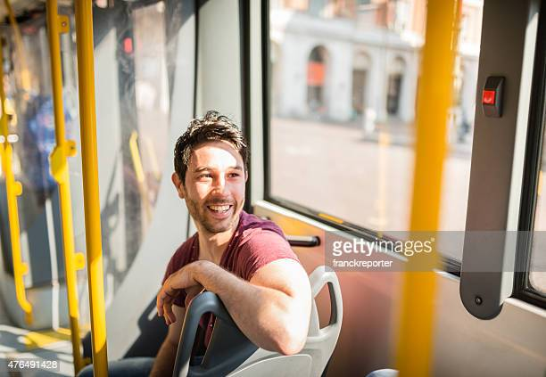 man traveling in a bus