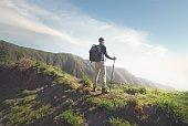 Man trekking, enjoying view, Tenerife