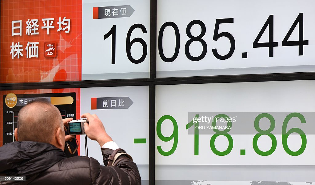 A man tries to take pictures of an electric quotation board flashing the Nikkei key index of the Tokyo Stock Exchange (TSE) in front of a securities company in Tokyo on February 9, 2016. Tokyo shares plunged more than five percent on February 9, extending a global equities bloodbath as a sharp rise in the yen hammered exporters and fears over the state of the global economy fuelled a rush to safe investments. AFP PHOTO / Toru YAMANAKA / AFP / TORU YAMANAKA