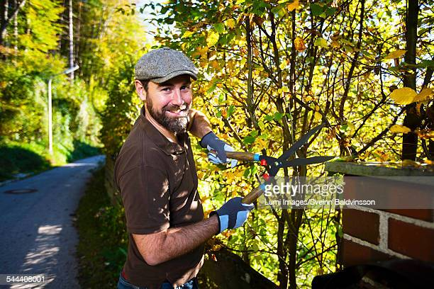 Man trimming plants by garden fence, Munich, Bavaria, Germany