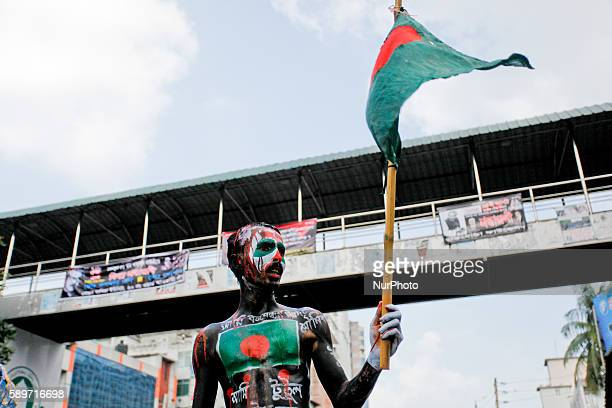 A man TUTUL decorated in Dhaka Balngladesh on 15 August 2016 showing his tribute during National Mourning Day On this day in 1975 a group of junior...