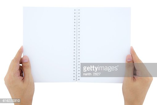 man(male) two hands hold a book(note, diary) : Stock Photo