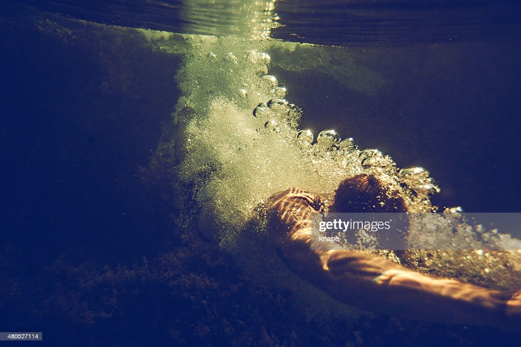 Man underwater in the sea : Stock Photo