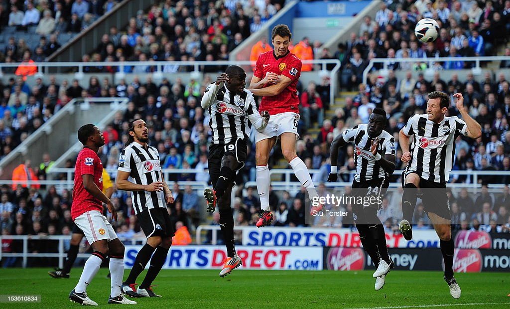 Man United player Jonny Evans scores the first goal the Barclays Premier league game between Newcastle United and Manchester United at Sports Direct Arena on October 7, 2012 in Newcastle upon Tyne, England.