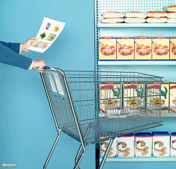 Man using images of food as as a shopping list