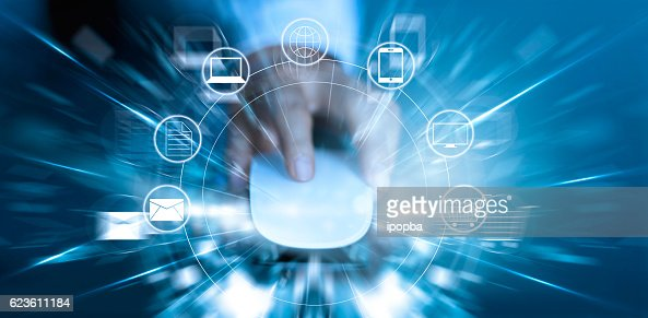 Man using mouse payments online shopping and icon customer network : Stock Photo