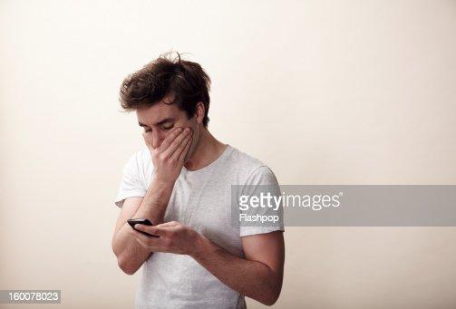 Man using phone : Stock Photo