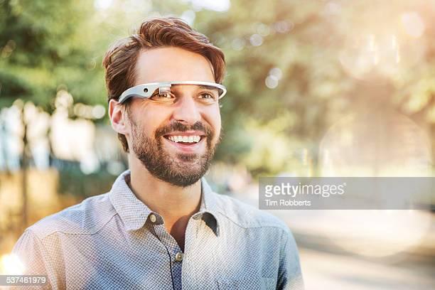 Man using smart glass.