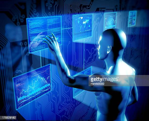 Man using touch screens concept