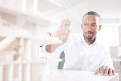Man using transparent touchscreen display