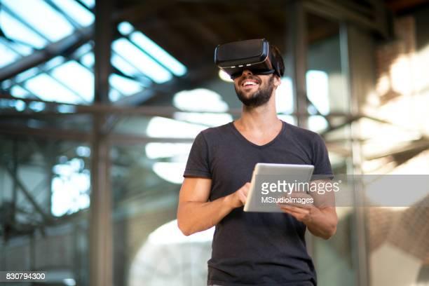 Man using virtual reality