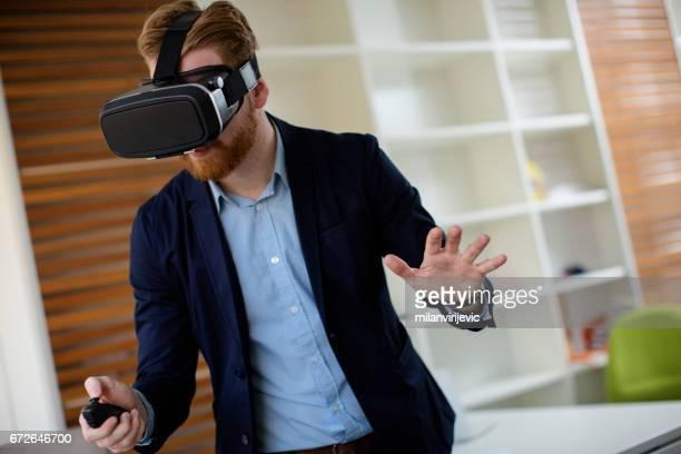Man using virtual VR headset