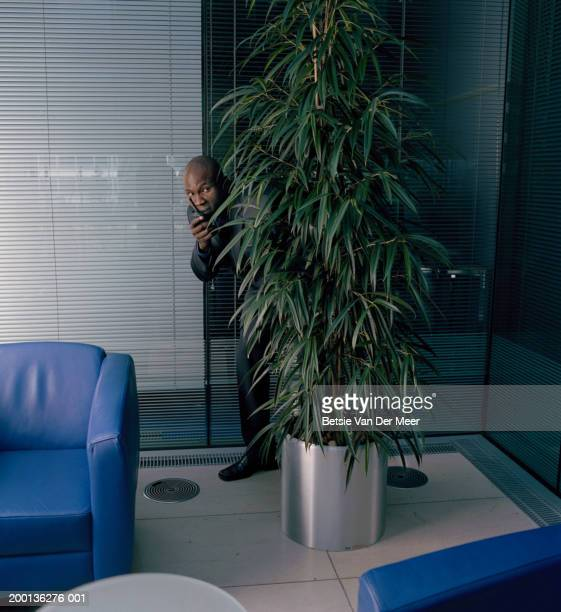 Man using walkie-talkie, body obscured by potted plant, indoors