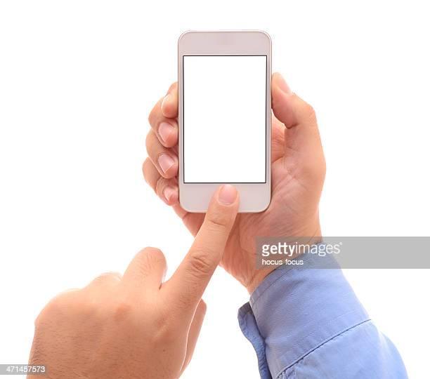 Man using white screen smart phone