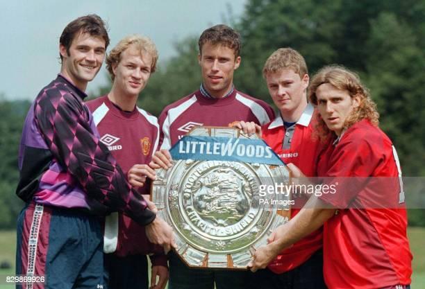 Man Utd introduce their summer signings L to R Raimond van der Gouw Jordi Cruyff Ronnie Johnsen Ole Solskjaer and Karol Poborsky in Manchester today...