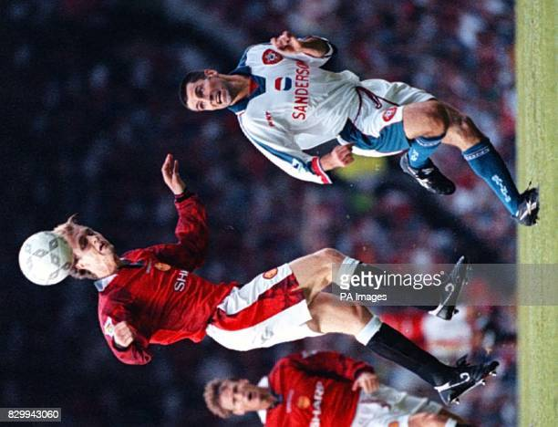 Man Utd's Jordi Cruyff climbs to a header as Southamptons Lee Todd finds himself out jumped at Old Trafford tonight Pic Dave Kendall