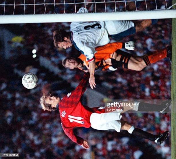 Man Utd's Jordi Cruyff sees a header cleared off the line by Southampton's Lee Todd at Old Trafford tonight Pic Dave Kendall