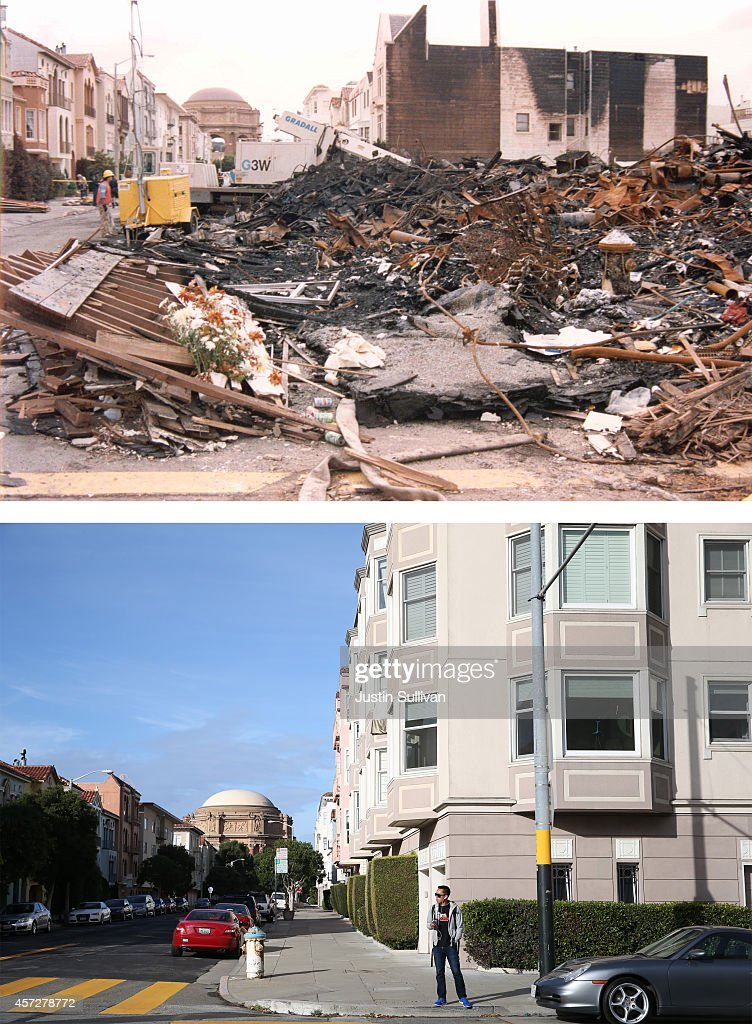 In this beforeandafter composite image A worker surveys the damage caused by the fire in San Francisco's Marina District after the Loma Prieta...
