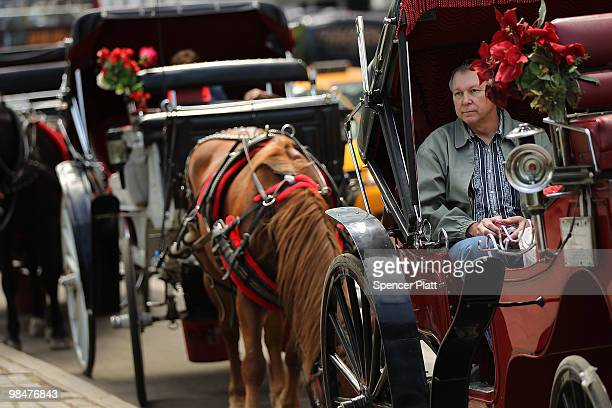 A man waits in a horse drawn carriage outside of Central Park on April 15 2010 in New York New York A new law that passed the New York City Council...
