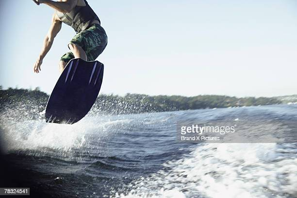 Man wake boarding