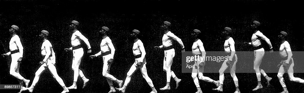 Man walking and jumping chronophotography by EtienneJules Marey c 1887