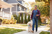 Man Walking Dog Along Suburban Street
