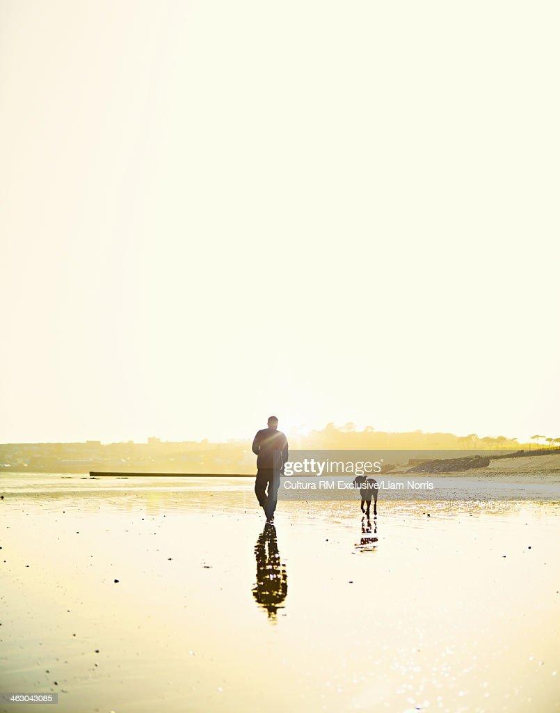 Man walking dog on beach : Stock Photo