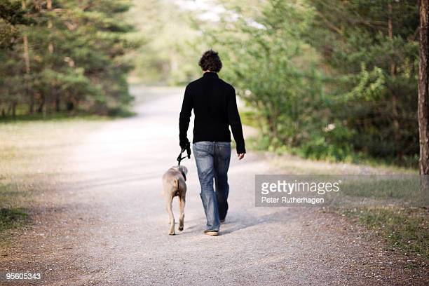 A man walking his dog Sweden.