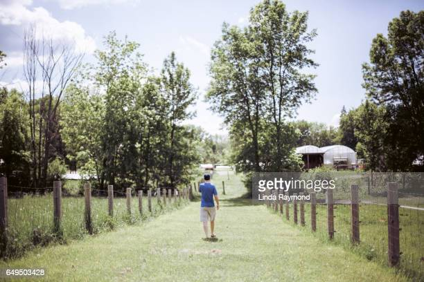 A man walking in a path