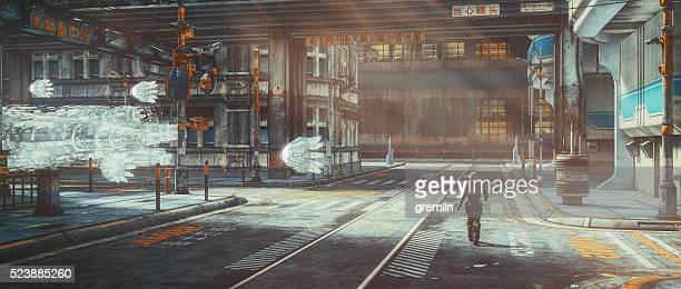Uomo che cammina in abbandonato città futuristica