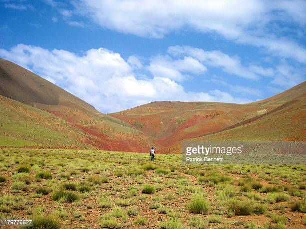Man Walking in the High Atlas Mountains of Morocco