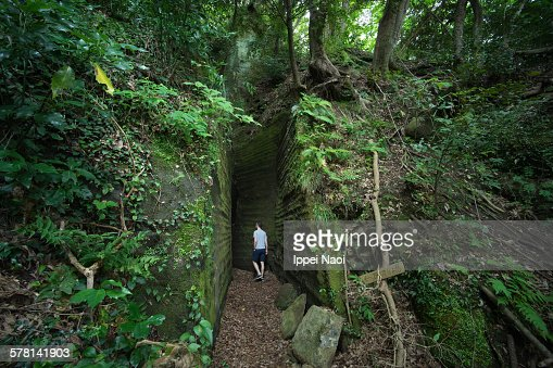Man Cave Urban Jungle : Man walking into cave in jungle stock photo getty images