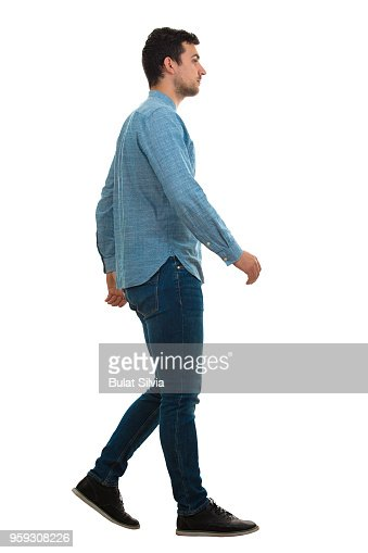 man walking isolated on white background : Stock Photo