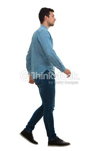 man walking isolated on white background : Stock Photo
