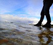 Man walking on the water