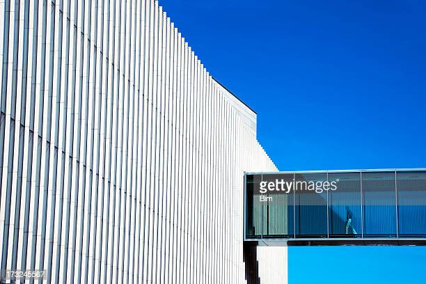 Man Walking Through Skywalk in Futuristic Building