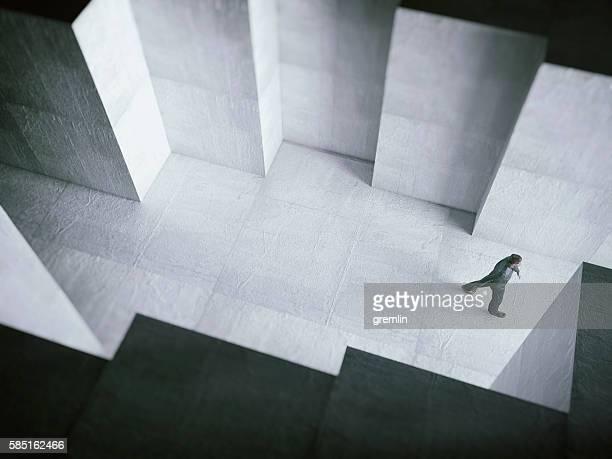 Man walking towards the light