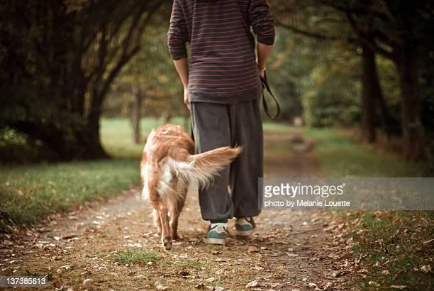 Man walking with dog.