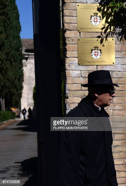 A man walks along the Knights of Malta's headquarters before the election of the new Grand Master on April 29 2017 Knights of the Order of Malta are...