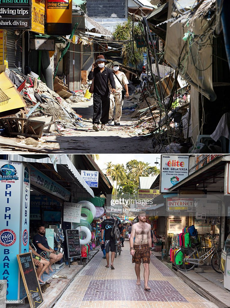 In this composite image a comparison has been made between a scene in 2004 and 2014 PHI PHI ISLAND THAILAND DECEMBER 12 A man walks between stores...