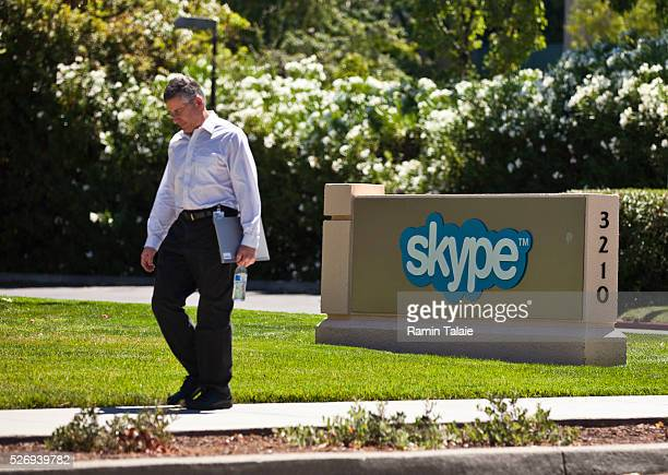 A man walks by Skype offices in Palo Alto CA on July 23 2014