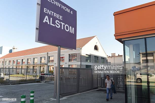 A man walks by the French power and transport engineering company Alstom factory in Belfort on September 7 2016 French rail transport manufacturer...