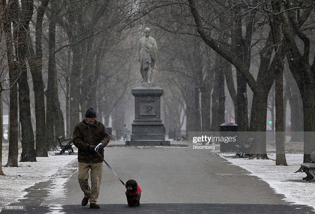 A man walks his dog down Commonwealth Avenue in Boston, Massachusetts, U.S., on Friday, Feb. 8, 2013. The New England cities are expected to receive more than 2 feet of snow by the time Winter Storm Nemo moves out tomorrow night, according to the weather service. Photographer: Kelvin Ma/Bloomberg via Getty Images